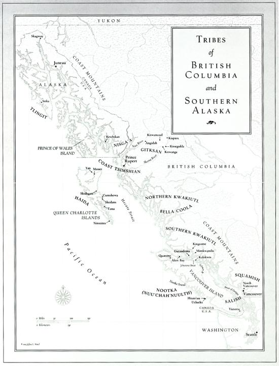 Map of Emily Carr's Travel in the Costal Northwest