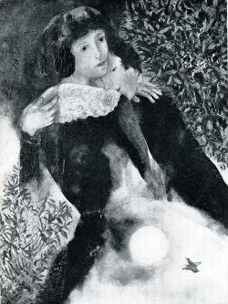 The Lovers by Marc Chagall, Marc leaning his head on Bella's shoulder, eyes closed as if in a dream
