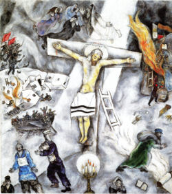White Crucifixion by Marc Chagall, Jesus on the cross wearing a jewish prayer shawl, another Jew holding a Torah scroll, a boat of soldiers, a burning village behind and a menorah in the foreground.