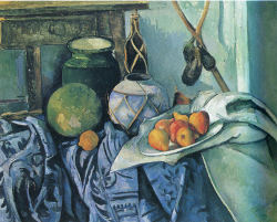 Paul  Cézanne painting, Nature Morte aux Aubergines, Still Life with Eggplants.