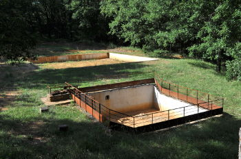Example of an open-air ochre drying basin made of concrete and used for decantation: Photo Copyright Marcia M. Mueller
