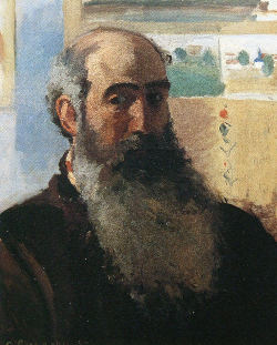 Pissarro self-portrait  with long brown and gray beard, bald on top of his head.