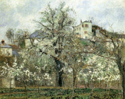 Pissarro's Le Verger, The Orchard with fruit trees and white blossoms, cabbage growing in rows, houses on hill in background, two blue roofs
