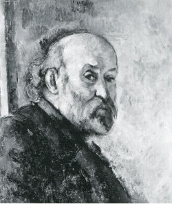 Cezanne Self-portrait, trimmed beard, bald on top, longish hair behind his neck, a blach-and-white image.