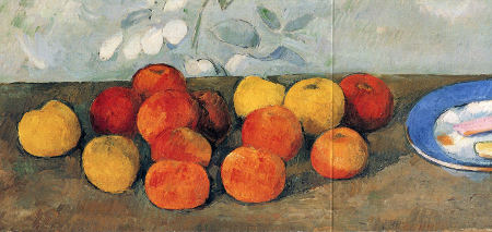 Fourteen apples in yello-ochre, orange and red on a bare table with a blue bordered table and two flat rectangular bisquits or cookies.