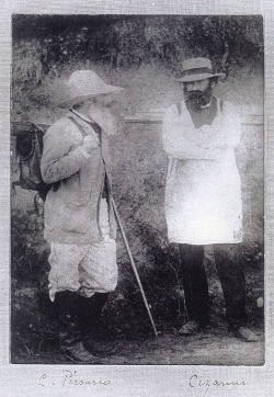 Pissarro in brimmed hat with satches and easel on his back, and Cezanne, also with easel strapped to his back, wearing a smock, both standing looking at each other