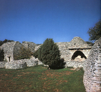 Prehistoric shelters near Gordes are settings for two scenes in Lisette's List