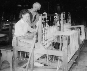 Jean Weaving at a Loom, Camp Hanoum.